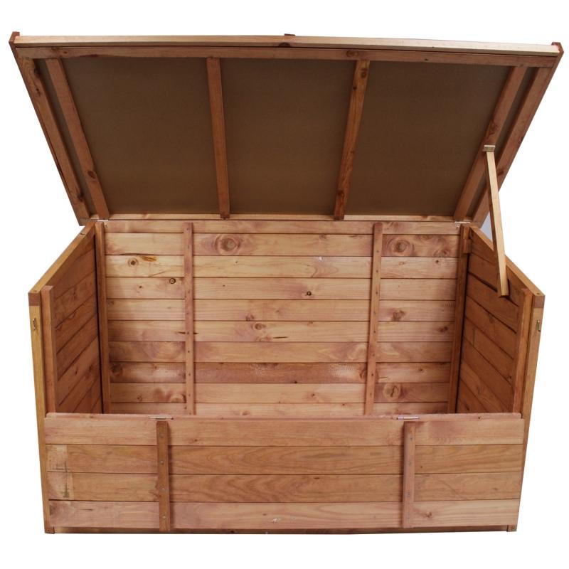 gartenbox 128x77x72cm auflagenbox holz truhe gartentruhe. Black Bedroom Furniture Sets. Home Design Ideas